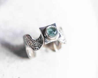 blue tourmaline ring, boho silver ring, sterling silver ring, baby blue , tourmaline promise ring, silver dainty ring, October birthstone