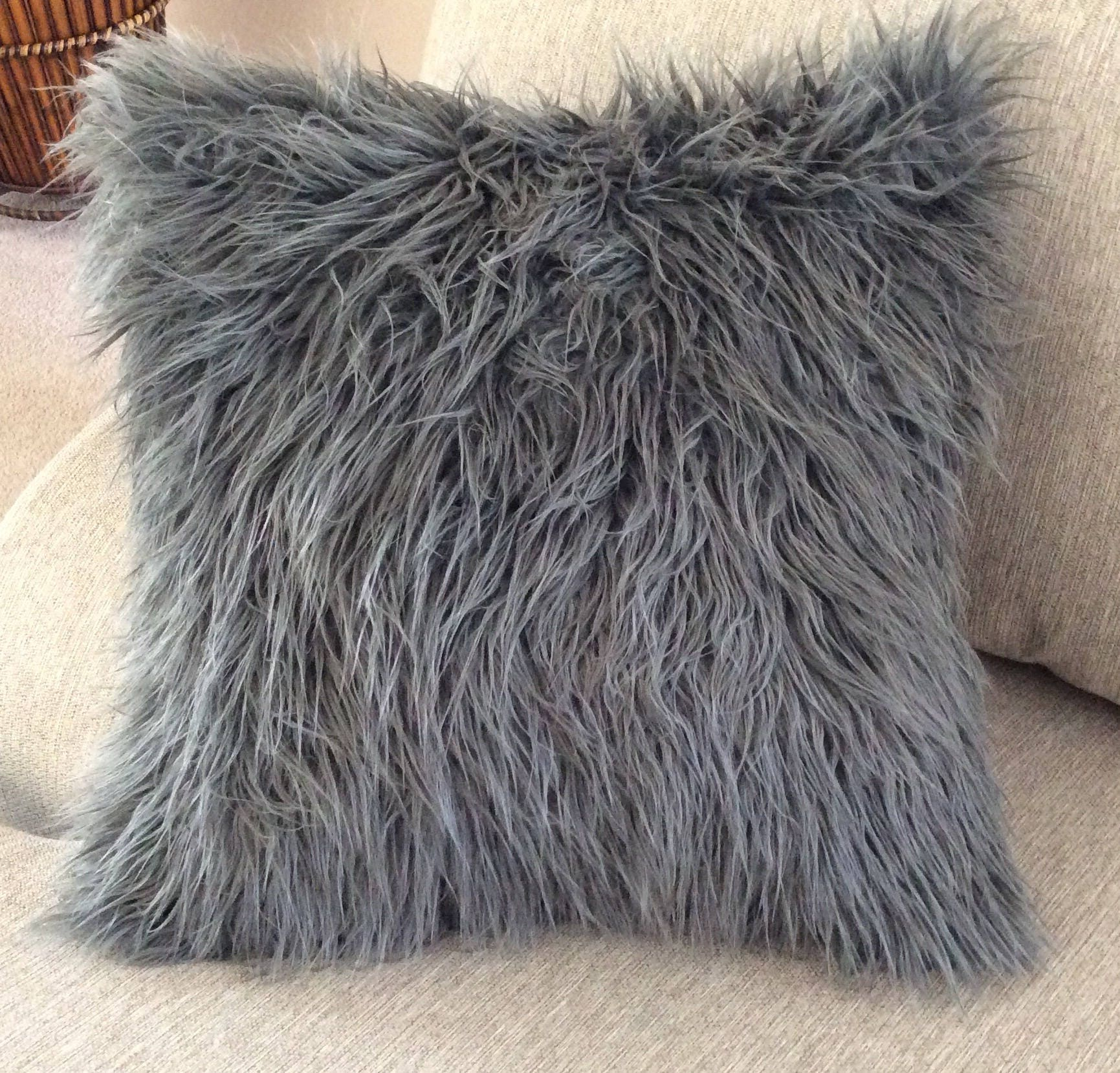 Gray faux Fur throw Pillow Grey pillow cover Charcoal Grey