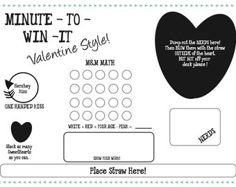 Minute to Win It Valentine's Day Printable