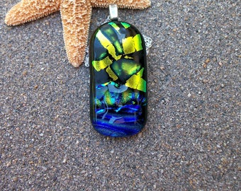 Green-Gold, Blue and Aqua Dichroic Glass Pendant Necklace