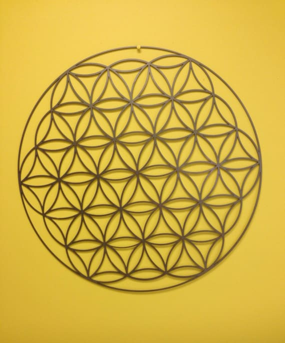 Flower of Life Metal Wall Art 24 in Silver or White