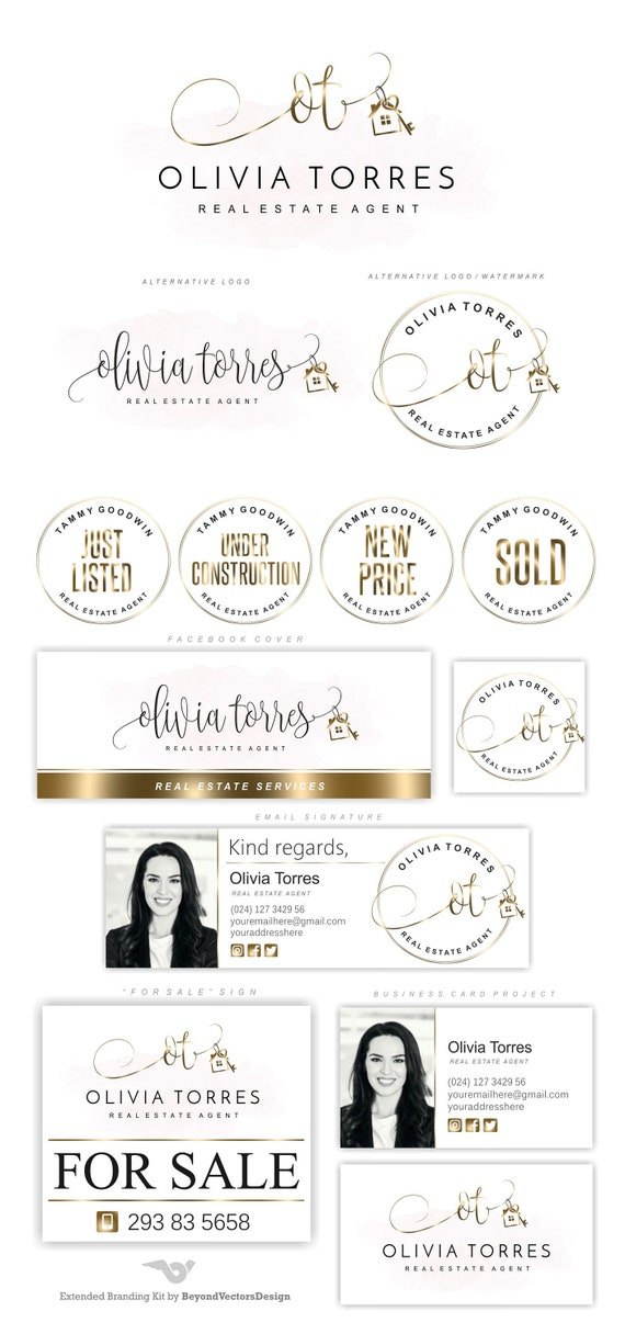 Realtor Logo Gold House Key Logo Premade Logo Real Estate