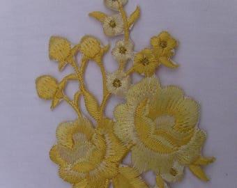 Coat large yellow flower solarium fusible or sew Applique Patch 48