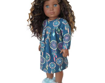 Fits Like American Girl Doll Clothes.  Blue Dreamcatcher Flannel Nightgown.  18 Inch Doll Outfit.