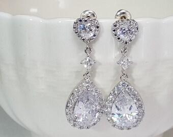 CZ Heart Earrings, Cubic Zirconia Hearts, CZ Bridal Earrings, Valentine's Day, Anniversary Present, Romantic Jewelry, Heart Jewelry, E2092