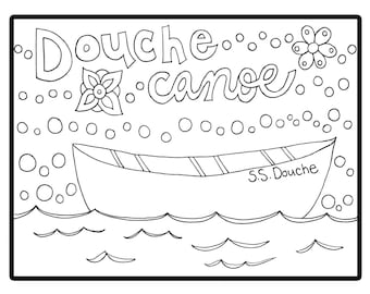 Douche Canoe Adult Coloring Instant Download Sheet