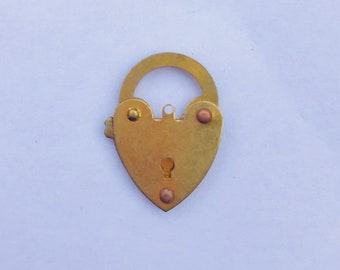 Brass mini heart padlock