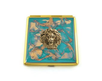 Neoclassic Lion Compact Mirror Inlaid in Hand Painted Enamel Teal Quartz Inspired with Color and Personalized Options Available