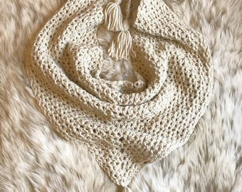 Natural Beige Everyday Triangle Scarf. With Tassels. Chunky Crochet. Shawl Wrap