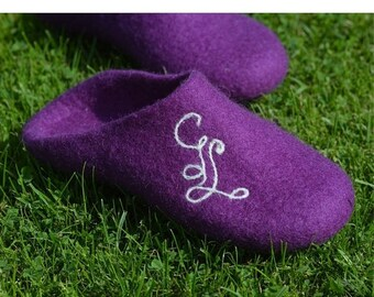 Summer Sale Handmade wool felted slippers with soles -purple-personalized-personalized shoes-Monogrammed shoes