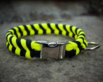 Paracord Dog Collar - Neon Yellow and Black (Double Fishtail Weave)