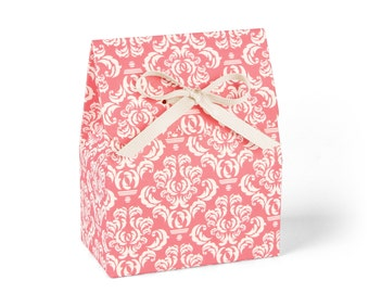 Favor Boxes, Coral Damask with Ivory Ribbon // Set of 8