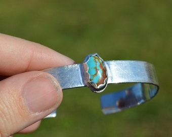 turquoise and sterling silver cuff - bracelet, natural turquoise stone