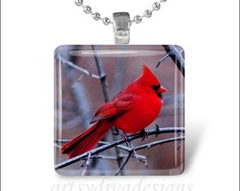 CARDINAL BIRD Red Cardinal Spring Bird Glass Tile Pendant Necklace Keyring design 1