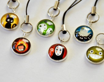 Totoro & Studio Ghibli Characters - 3 Keychains/Cellphone Charm -  kodoma, noface, calcifer, princess mononoke, spirited away, anime