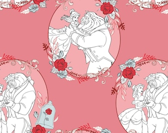 NEW Disney Fabric- Beauty and the Beast Fabric- Love in Dusty Pink From Camelot, yard