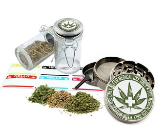 "Medical Leaf Design - 2.5"" Zinc Alloy Grinder & 75ml Locking Top Glass Jar Combo Gift Set Item # G022115-030"