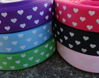 """3y Valentine hearts Ribbon Printed Ribbon 1"""" 3 yards Hair Bow Supplies"""