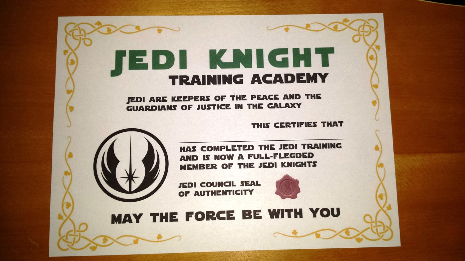 Star wars inspired printable jedi knight certificate zoom alramifo Images