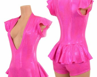 Neon Pink Holographic Plunging V Neck Ruffle Rump Romper with Flip Sleeves Rave Festival Flow Artist Hooping Apparel - 155068