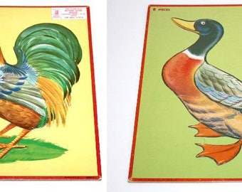 Rooster & Mallard Duck Cardboard Puzzle Set ~ Vintage 1950s Milton Bradley Aptitude Tested Puzzles ~ 4507-4 and 4507-1