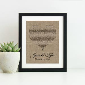 Wedding Song Lyric Art- Personalized Wedding Gift for Couple- Anniversary Gift for Men- First Dance Lyrics Framed-Engagement Gift for Couple