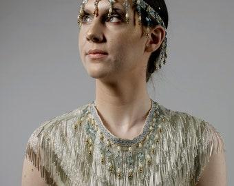Handmade beaded collar and headband costume