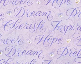 Henry Glass Pretty as A Pansy Fabric love letters 1014