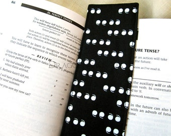 Gift for English Teacher - Quotation Mark Bookmark - fabric page holder, black and white typography, grammar nerd, punctuation, commas