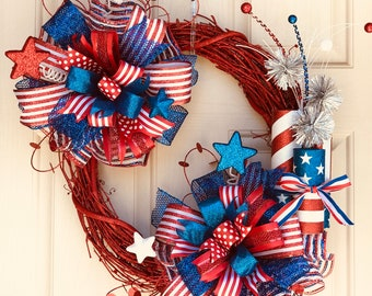 4th of July Wreath, Summer Wreath, Patriotic Wreath