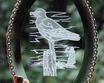 Seagull in Glass Bevel Suncatcher