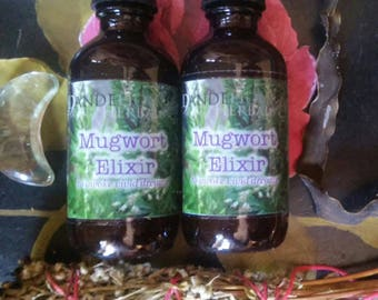 Mugwort Elixir New Moon + Full Moon Duo: Herbal Tinctures to Invoke Vivid Dreams, Lucid Dreaming, Connect with the Moon with flower essence