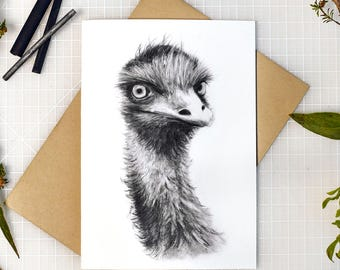 Emu greeting card with envelope, A6 print of original charcoal drawing, Australian made