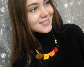 Macrame Necklace Leaf Brown Yellow Autumn necklace Free shipping