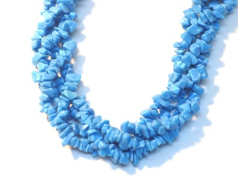 """2 Strands Turquoise Chips 36""""Long"""