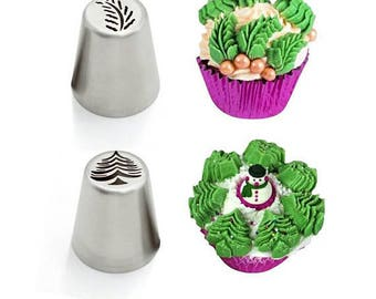 2 pc FROSTING TIP SET Christmas Tree and Leaf Large Tips For Cupcakes