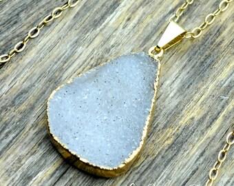 Druzy Necklace, Druzy Pendant, Lavender Druzy, White Druzy, Druzy Jewelry, Gold Druzy, Natural Druzy, Druzy Crystal, 14k Gold Fill Chain