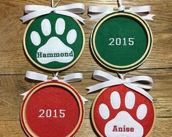 Pet Ornament, Personalized Pet, Cat Ornament, Dog Ornament, Paw Print Ornament, Personalized Paw Print, Christmas Decoration