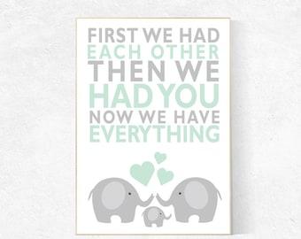 First We Had Each Other, mint nursery decor, elephant Nursery, Nursery Art, Nursery Decor, gender neutral nursery, nursery prints