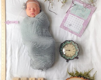 Light Gray Cheesecloth Baby Wrap Cheese Cloth Newborn Photography Swaddle