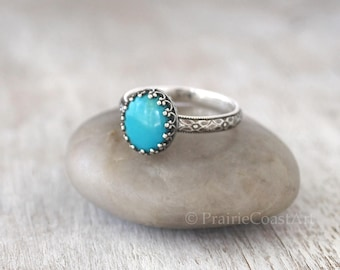 Oval Sterling Silver Turquoise Ring -  American Turquoise Silver Ring - Handcrafted Artisan Silver and Turquoise
