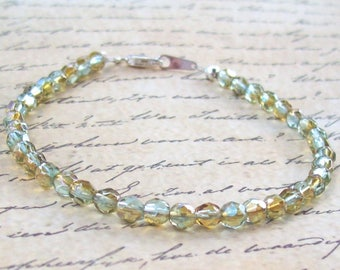 Crystal Topaz Bracelet, crystal beaded bracelet, sterling silver, facceted, stacking bracelet, ab, faceted, peridot, yellow, blue