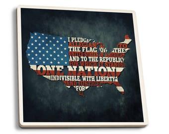 Americana - Pledge of Allegiance - LP Artwork (Set of 4 Ceramic Coasters)