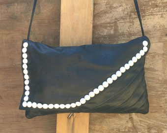 Vintage Custom Studded Black Leather Purse