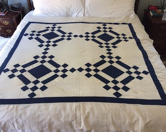 Vintage (1940's-1950's)navy and white polka dots quilt top. So simple, clean and perfect!