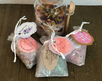 Bath Salts with dead sea, Pink Himalyan and Epsom, Bath Salts, Aromatherapy,Baby Shower Favors,Bridal Shower Favors, Thank You Gift