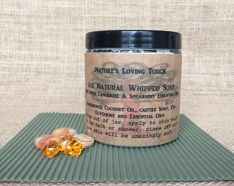 Whipped Soap All Natural~ 8oz Made With Coconut Oil,Tangerine and Spearmint Essential Oils, Comes in the Cutest Burlap Bag with Heart