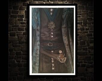 Infâme Pirate féminin Original dessin - Fine Art Print - dessins originaux - fusain dessin Pastel