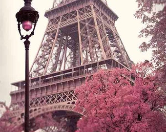 Paris Print. Eiffel Tower Print, Paris Photography, Eiffel Tower Wall Art, Paris Springtime, Fine Art Photography, Pink, Beige