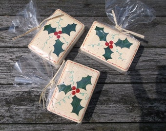 Painted holly soap